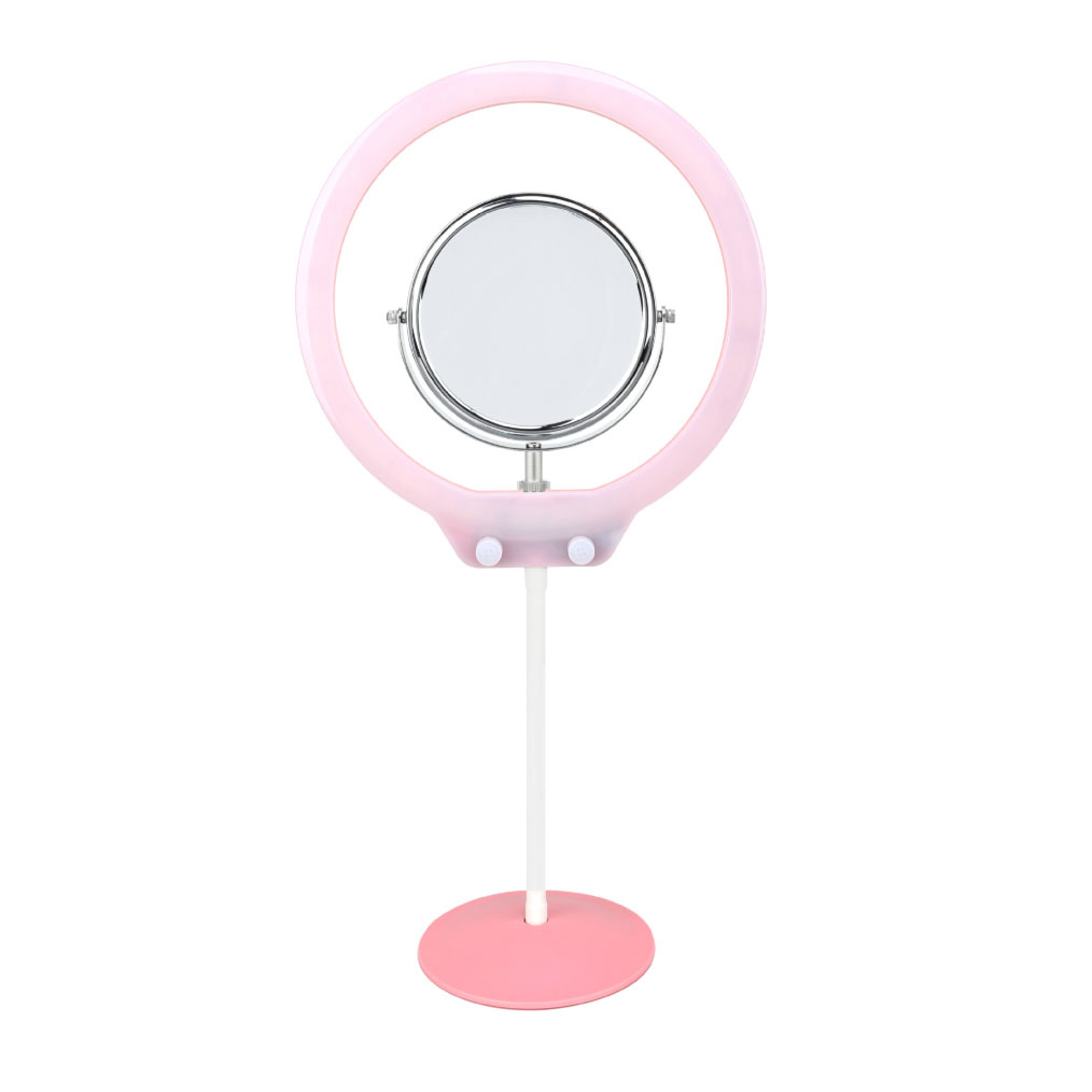 Zomei 美妝雙色溫環燈含鏡子(粉紅)