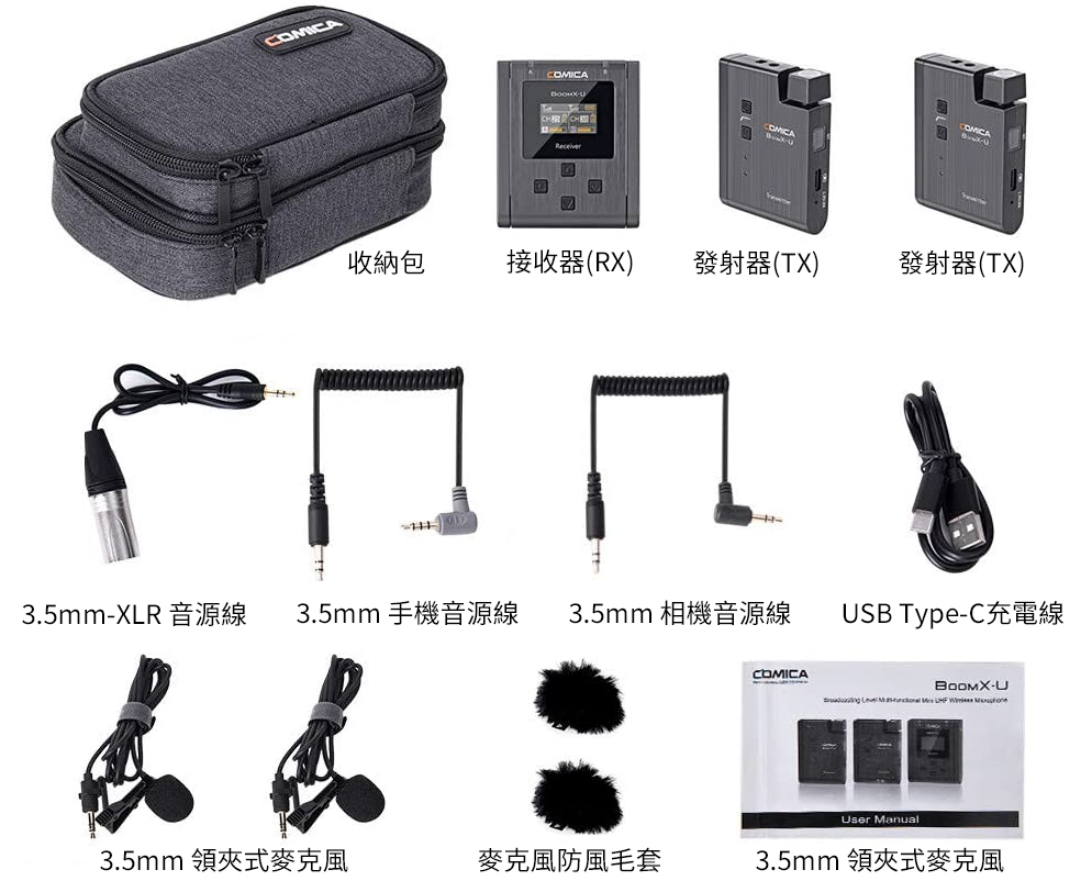 COMICA BoomX-U U2輕巧型無線麥克風(一對二)