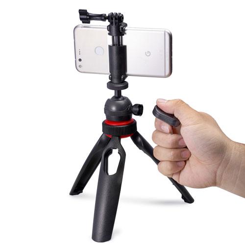 LENSGO 遙控手機/相機/GoPro握把腳架(黑)
