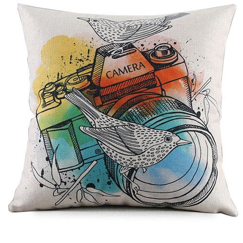創意相機圖案抱枕套(白底相機鳥)