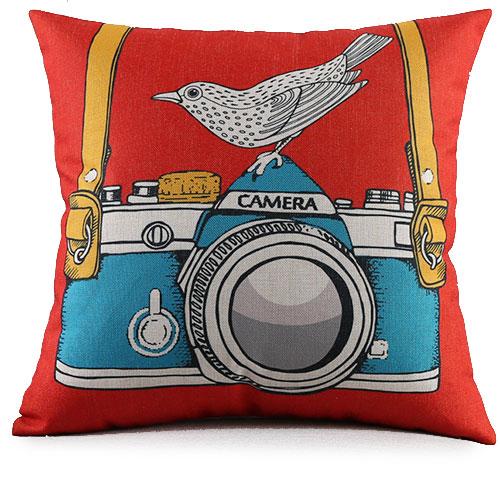 創意相機圖案抱枕套(紅底相機鳥)