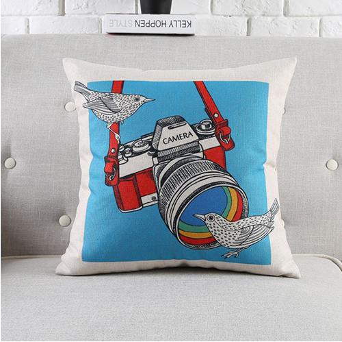 創意相機圖案抱枕套(藍底相機鳥)