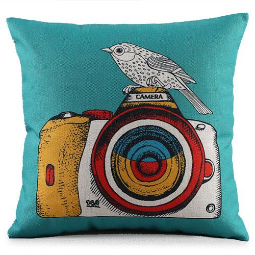 創意相機圖案抱枕套(藍綠底相機鳥)