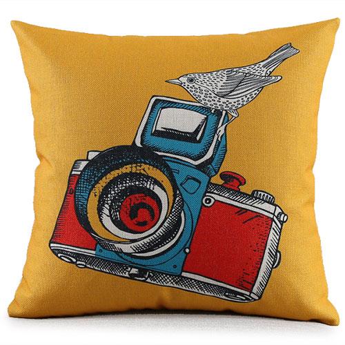 創意相機圖案抱枕套(黃底相機鳥)