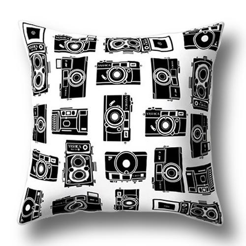 創意相機圖案抱枕套(黑白相機陣列)