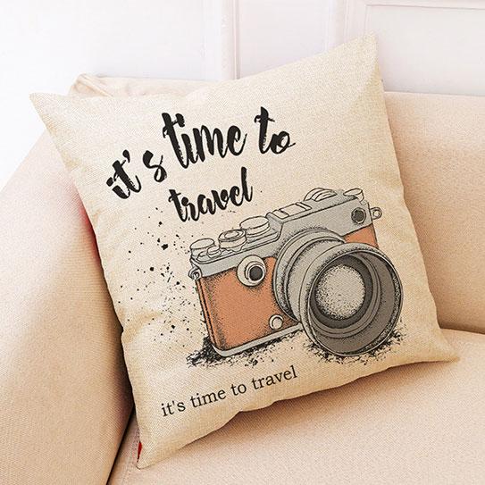 創意相機圖案抱枕套(手繪黃色相機)