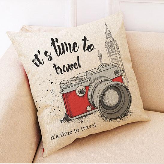創意相機圖案抱枕套(手繪紅色相機)