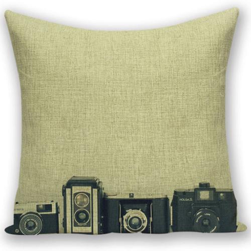 創意相機圖案抱枕套(四相機橫)