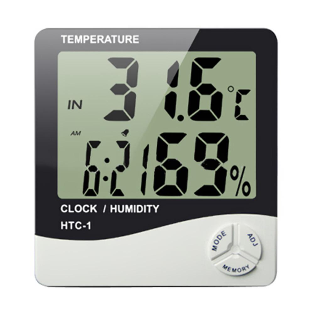 鬧鐘型數位溫濕度計(白色)