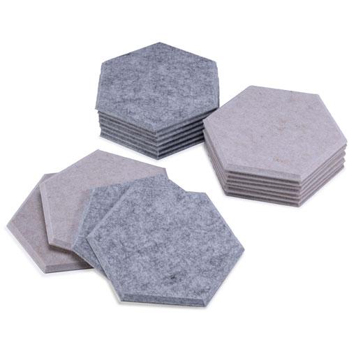 KEYSTONE 六角形聲學纖維吸音板40片裝-粉灰