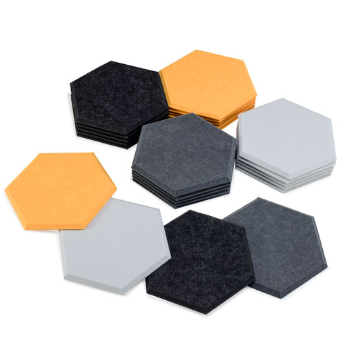 KEYSTONE 六角形聲學纖維吸音板80片裝-黃黑灰白