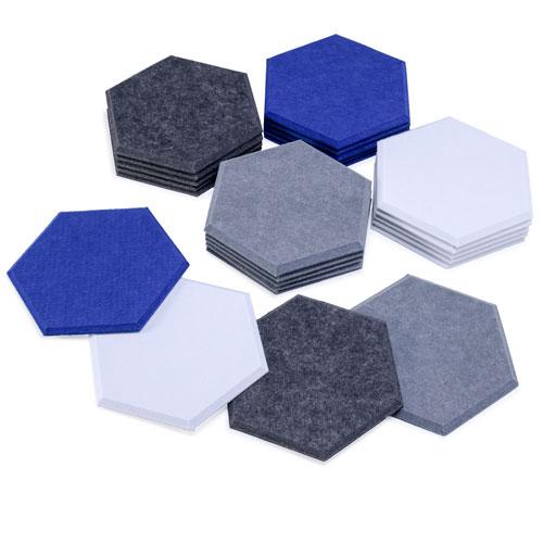 KEYSTONE 六角形聲學纖維吸音板80片裝-藍黑灰白