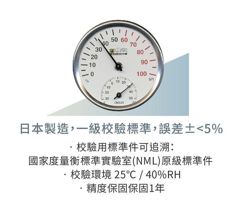 日本製溫濕度表,經過1級校驗可追塑國家標準NML