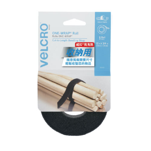 VELCRO 威扣 魔鬼氈多用途可調式束帶-捲狀1入(3.6mx1.9cm)